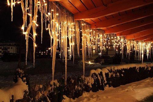 christmas lights on frozen ice