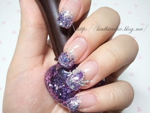 Purple Glitter Nail Art Pictures Photos And Images For Facebook