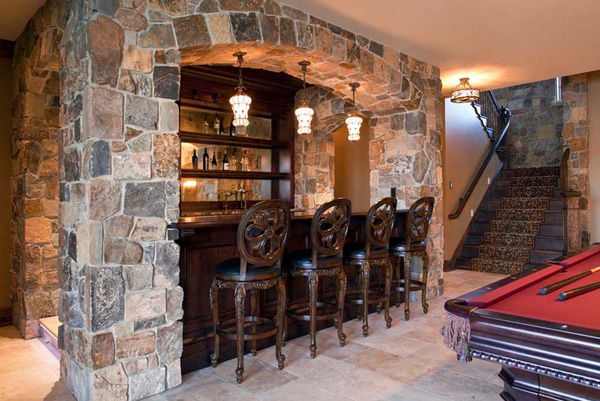Remodeled Basement With Stone Encased Bar Pool Table Pictures - Stone pool table