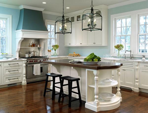 Gorgeous White Kitchen With Light Blue