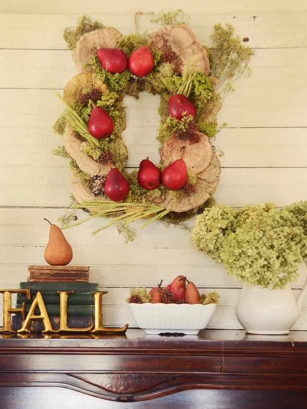 Square Fall Wreath Made From Dried Mushrooms, Moss, & Faux