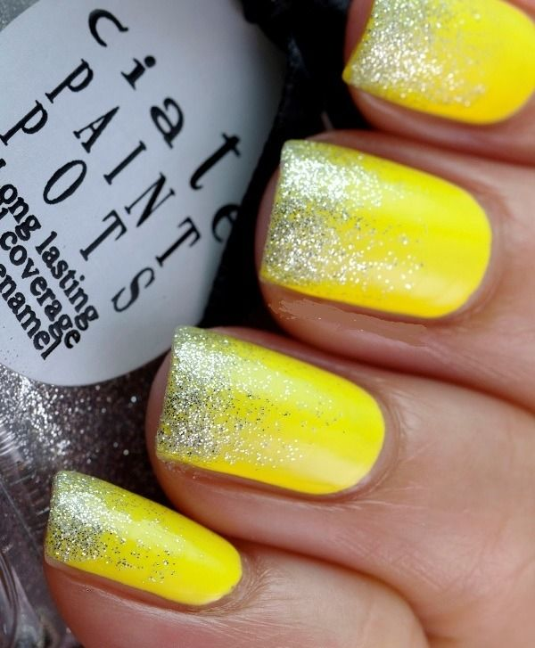 Neon Yellow Glittered Nails Pictures Photos And Images