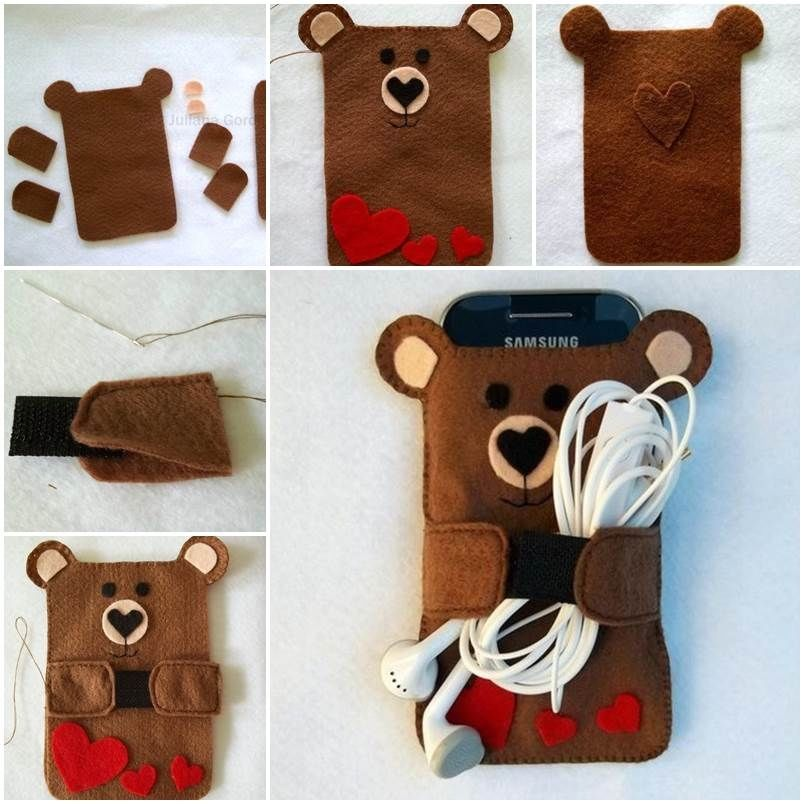 Felt bear cell phone case pictures photos and images for for Creative iphone case ideas