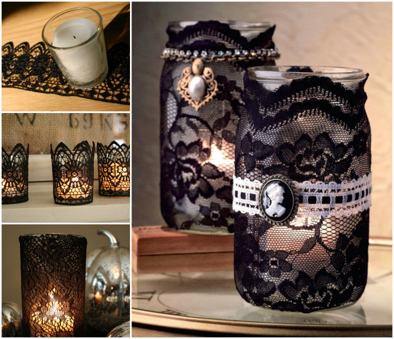 Lace Mason Jars Candle Craft Lace Mason