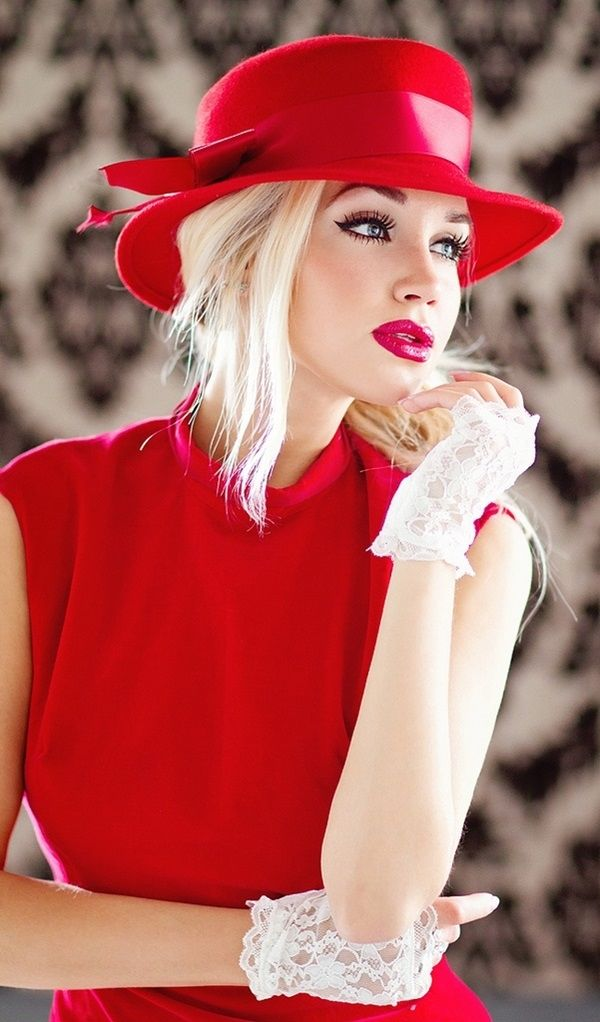 Classy Red Dress With Matching Hat And Lace Gloves