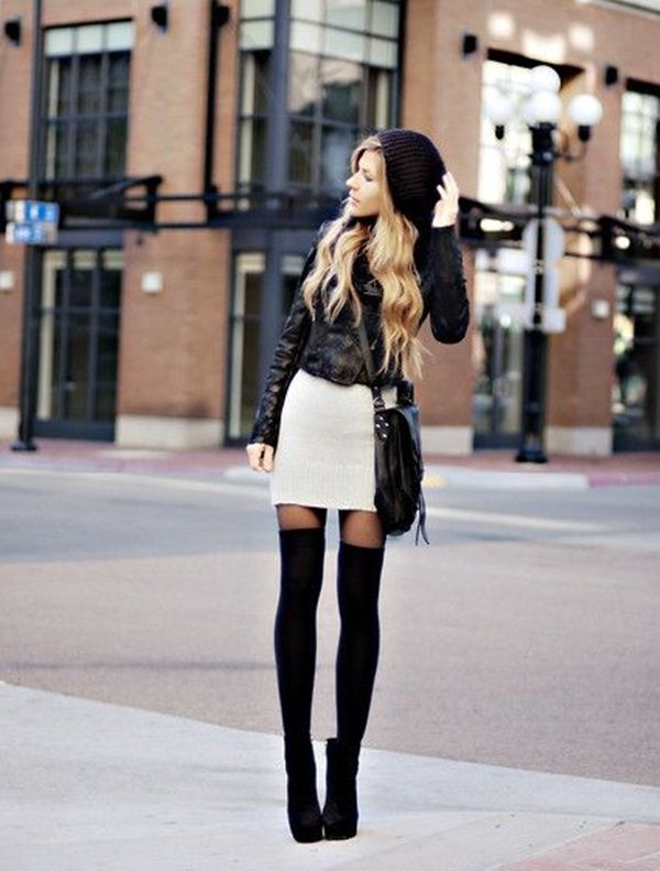 deb6920cbd Thigh High Black Boots With Mini Skirt & Leather Jacket Pictures ...