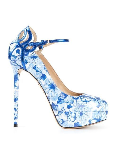 Pretty Blue & White Floral Pumps Pictures, Photos, and Images for ...