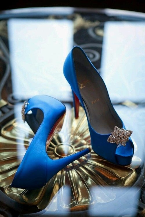 9938f67525 Royal Blue Pumps With Open Toe And Diamond Adornment Pictures ...