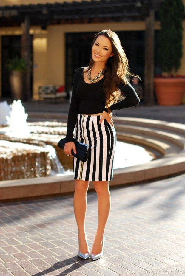 striped pencil skirt with black top and silver metallic