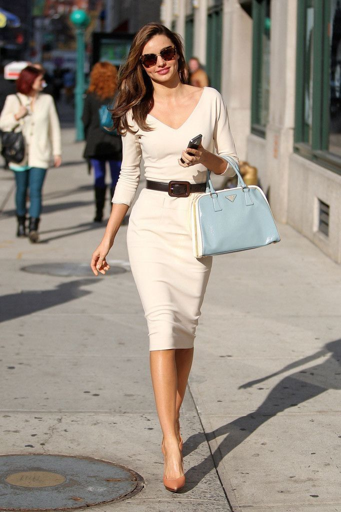 Beige Sheath Dress With Belt High Heels Pumps Pictures