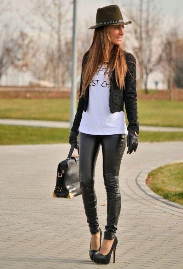 Black Leather Pants With Pumps Short Jacket T Shirt