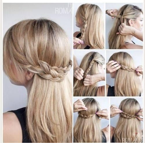 Half Up Down Hairstyle Braid And Pretty Waves