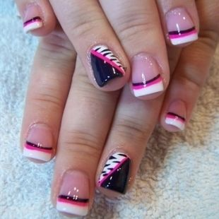Cute Black White Hot Pink Nail Design