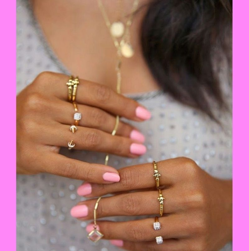 pretty pink nails dainty gold rings pictures photos. Black Bedroom Furniture Sets. Home Design Ideas