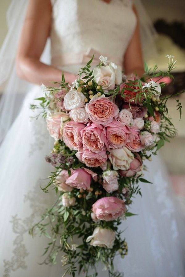 Stunning Cascading Pink Rose Bridal Bouquet Pictures, Photos, and ...