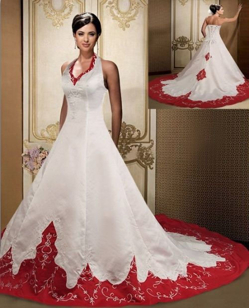 Red And White Wedding Dresses: Red & White Christmas Wedding Gown Pictures, Photos, And