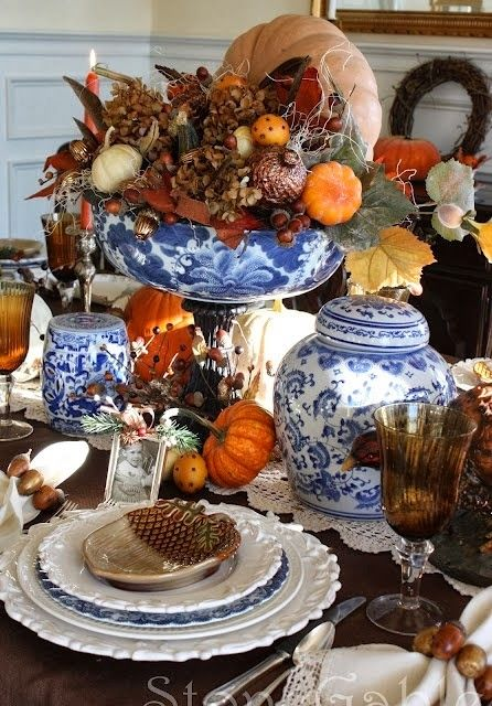 Blue Willow Thanksgiving Tablescape Pictures Photos And