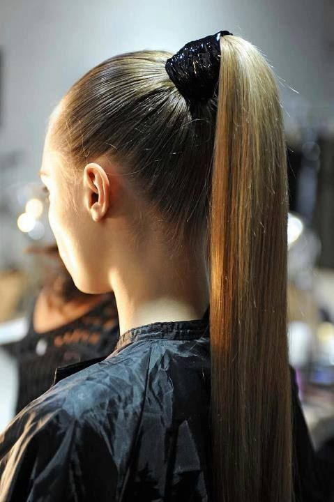 Elegant And Simple Hairdo For The Event High Ponytail