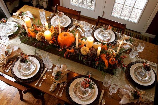 Thanksgiving Candles And Pumpkins Centerpiece