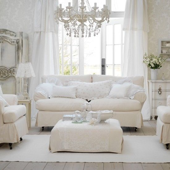 All White Shabby Chic Living Room Pictures, Photos, And