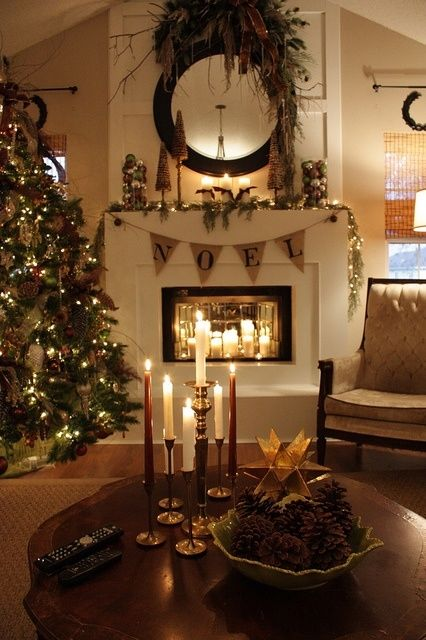 Beautiful christmas mantle pictures photos and images for Beautiful homes decorated for christmas