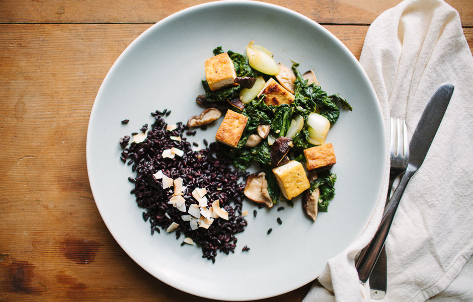 How To Make Tofu Mustard Greens And Shiitake Mushroom Stir Fry ...