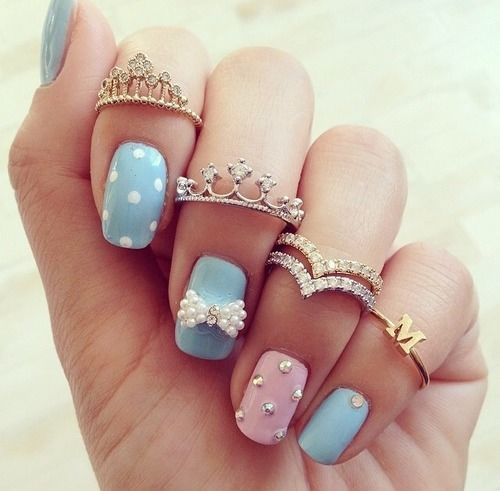 Adorable Pink Blue Nail Art With Tiara Rings Pictures Photos And
