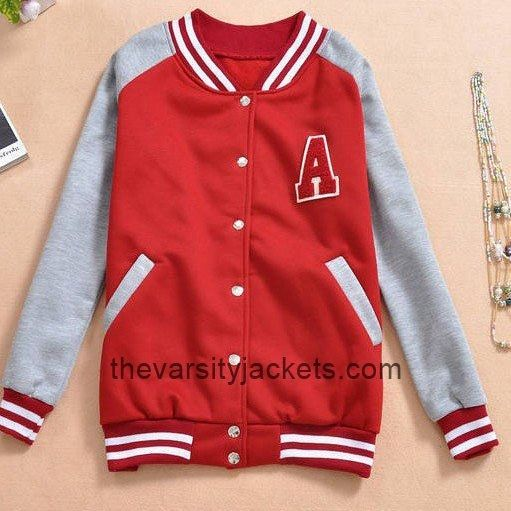 Cheap Popular Letter A Red Varsity Baseball Jacket For Girls