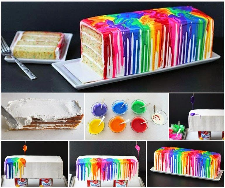 how to bake a melted rainbow cake pictures photos and