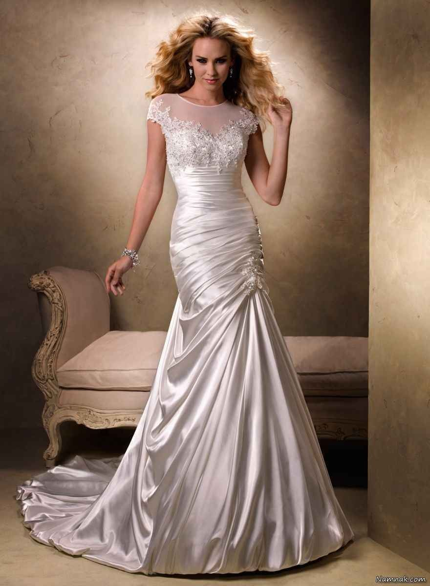 Silvery white satin wedding gown pictures photos and for White silk wedding dress