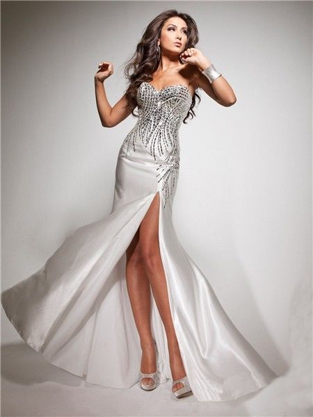 Strapless Silver Holiday Dress With Sequins And Side Slit Pictures ...