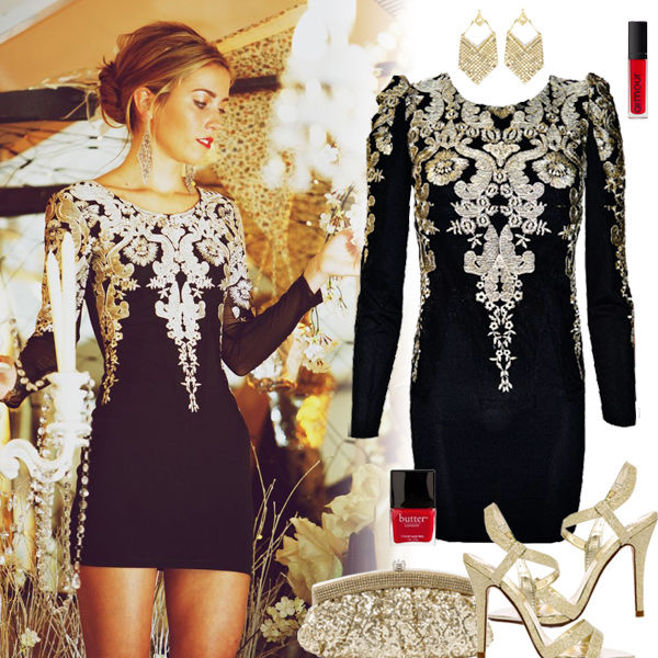 Elegant Black Mini Dress With Gold White Sequins Ensemble Pictures