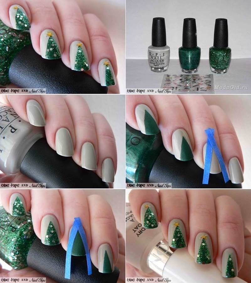 Christmas Lights Nails Pinterest: How To Style Christmas Tree Nails Pictures, Photos, And