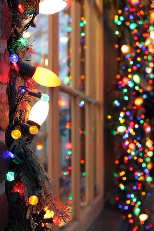 christmas lights around the window