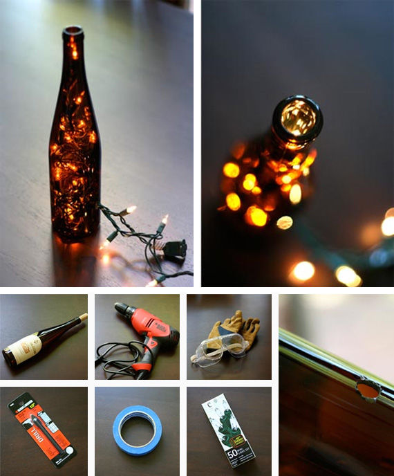 Diy wine bottle lights pictures photos and images for for Wine bottle light ideas