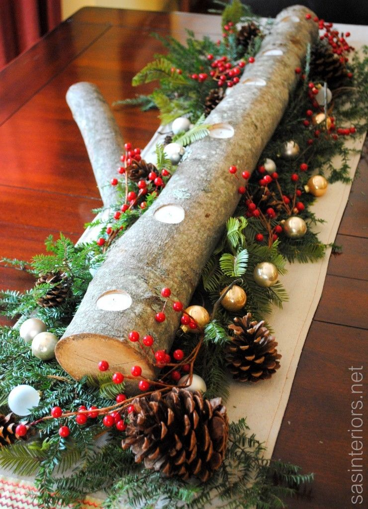 Christmas log centerpiece pictures photos and images for