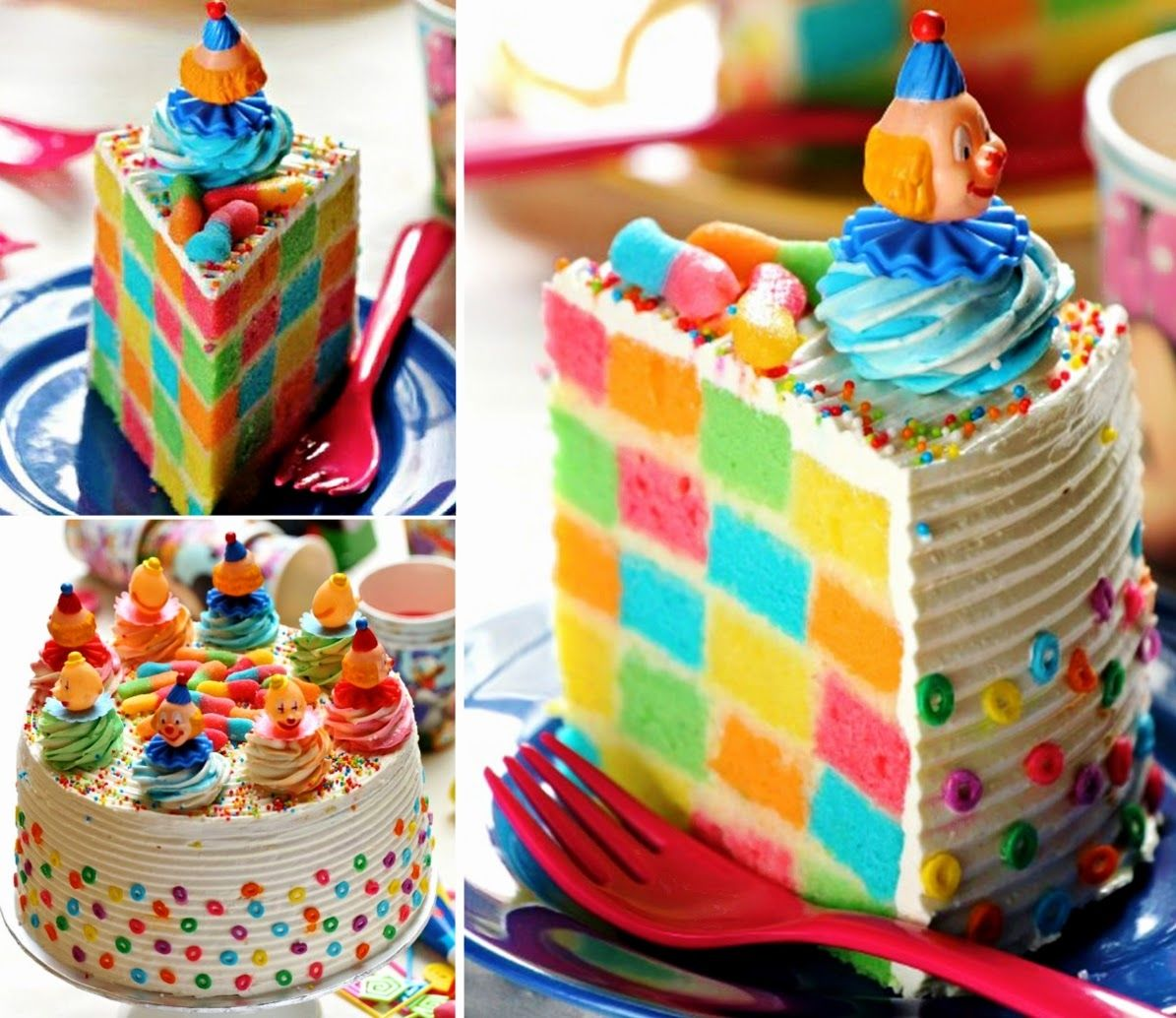 Multi Layer Cake With Rainbow Heart