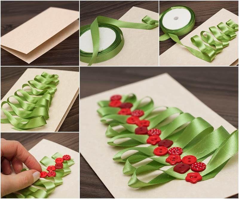 How to make a ribbon christmas tree card