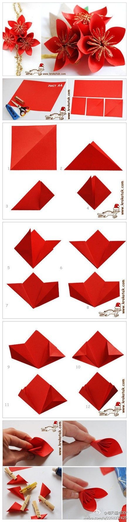 Origami poinsettia pictures photos and images for facebook tumblr origami poinsettia mightylinksfo