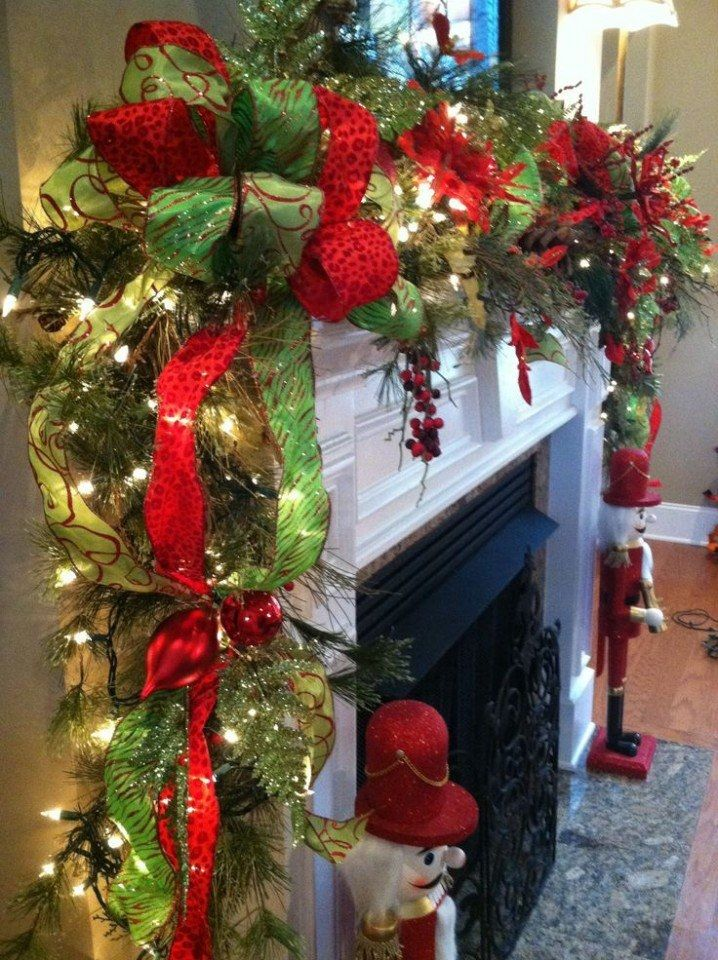 Beautiful Christmas Garland For Fireplace Mantle Pictures