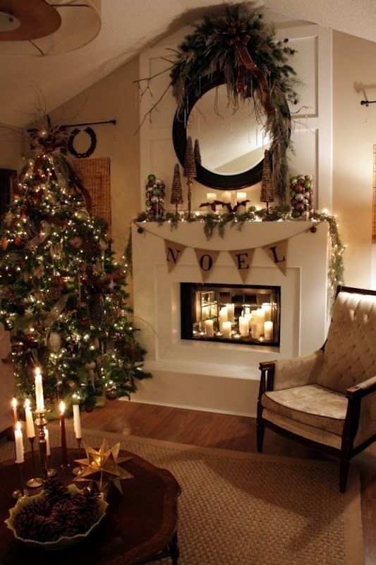 Beautiful Living Room Decorated For Christmas Pictures