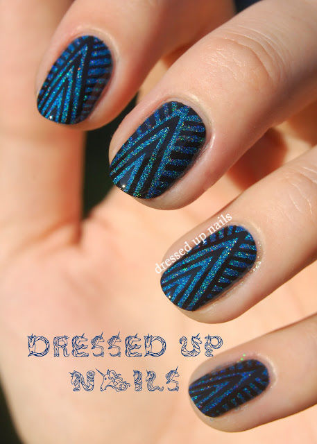 Blue Glitter Patterned Nails Pictures, Photos, And Images