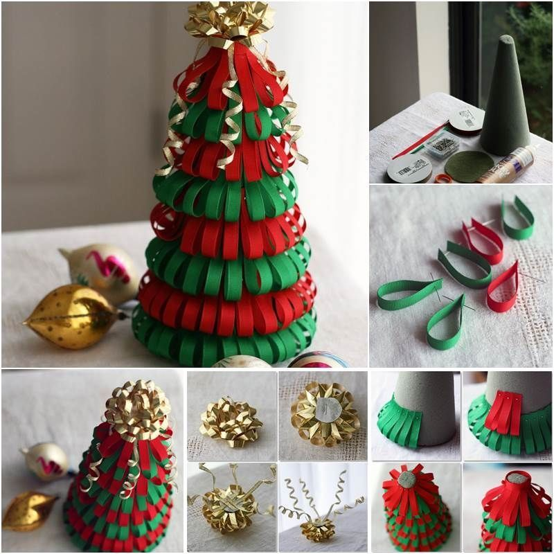 how to make a ribbon christmas tree pictures photos and. Black Bedroom Furniture Sets. Home Design Ideas