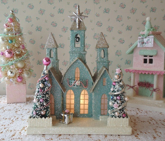 shabby chic christmas houses and scrubber tree