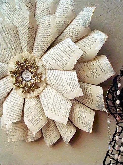 Christmas Wreath Made From Book Pages Pictures Photos