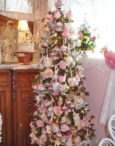 Tea set christmas tree pictures photos and images for - Navidad shabby chic ...
