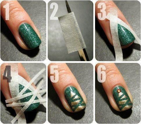 Diy Gold Christmas Tree Nails Pictures Photos And Images For