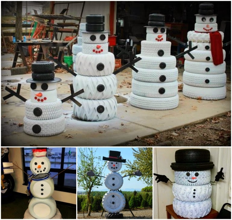 How to make a tire snowman pictures photos and images for Snowmen made from tires