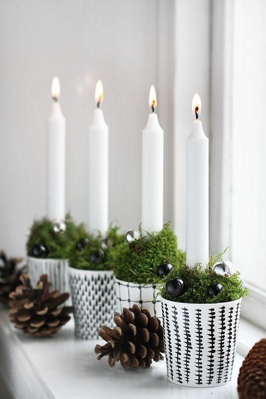 Simple homemade christmas candle holders pictures photos for Advent candle decoration