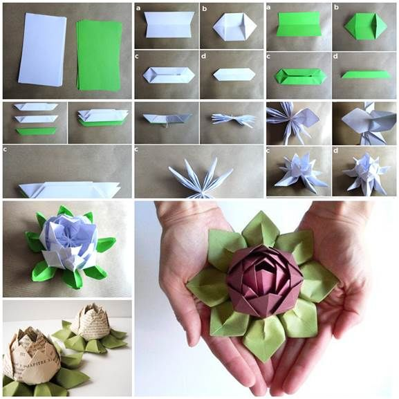How to make origami lotus flower pictures photos and images for how to make origami lotus flower mightylinksfo